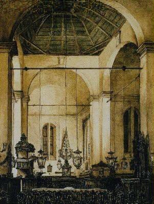 Interior of the Wolvendael church in Colombo by J.L. Kalenberg Van Dort