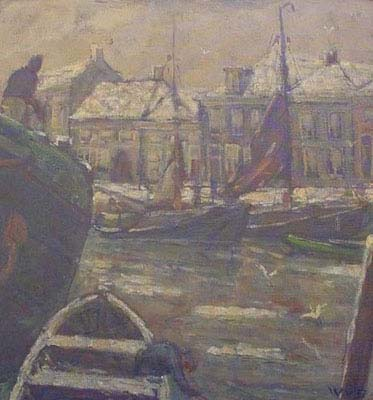 Harbour view of Bergen op Zoom by Willem van Dort Jr.
